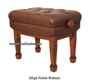 piano bench adjustable walnut high polish