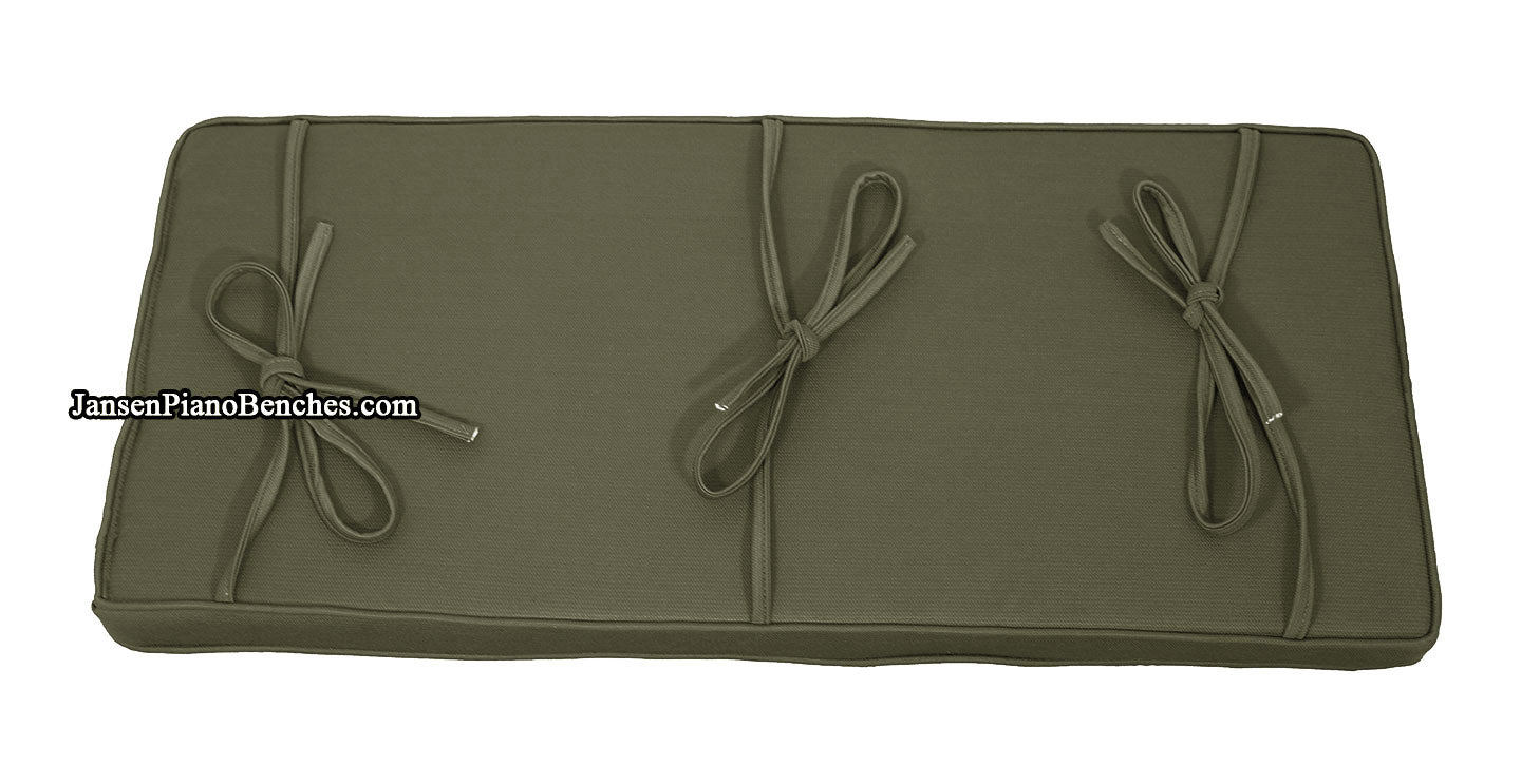 Box Edge Piano Bench Cushion 2 Thick in Ivy Green 14 x 30
