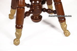 Jansen Piano Stool Walnut Finish with Brass Claw Foot