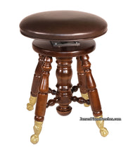 Load image into Gallery viewer, Jansen Adjustable Piano Stool Brass Claw Feet Satin Walnut