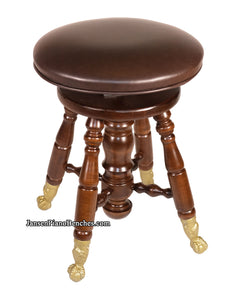 Jansen Piano Stool Walnut with Brass Claw Feet