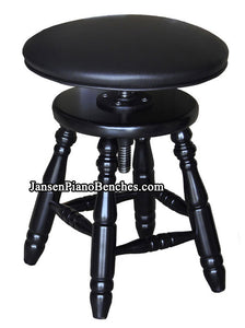 Jansen piano stool upholstered top black