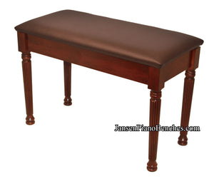 jansen padded top piano bench round reeded legs mahogany