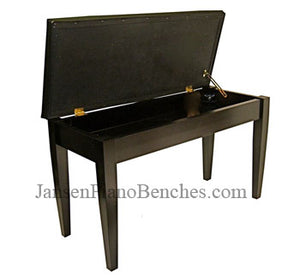 black upholstered upright piano bench by jansen