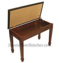 Load image into Gallery viewer, jansen piano bench mahogany brown vinyl top
