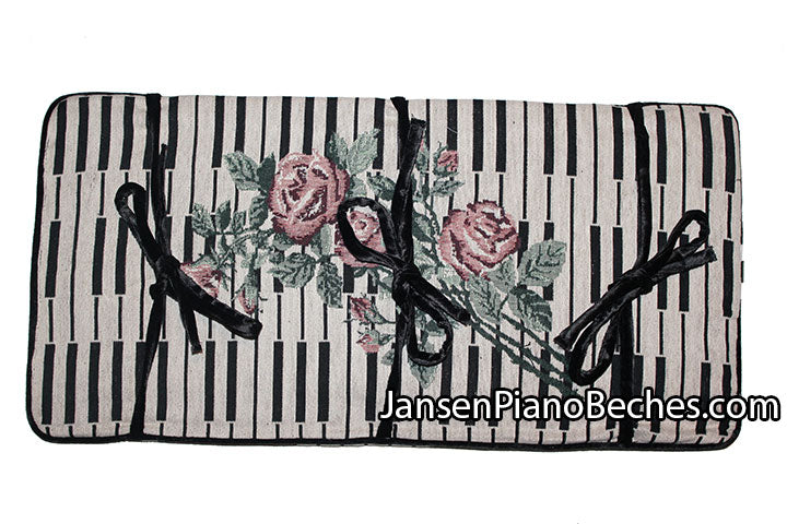 Keyboard & Rose Piano Bench Cushion - 14