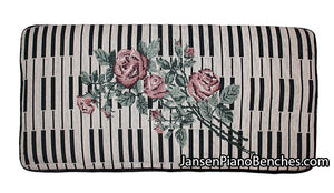 "Keyboard & Rose Piano Bench Cushion - 14"" x 29"""