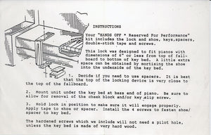 piano lock instructions for installation