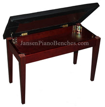 Load image into Gallery viewer, Mahogany Upholstered Piano Bench