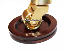 Load image into Gallery viewer, wood mahogany satin piano caster cup with piano wheel