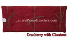 Load image into Gallery viewer, piano bench cushion cranberry and chestnut brown