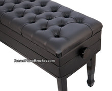 Load image into Gallery viewer, black piano bench adjustable height satin ebony