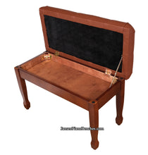 Load image into Gallery viewer, piano bench with storage satin walnut