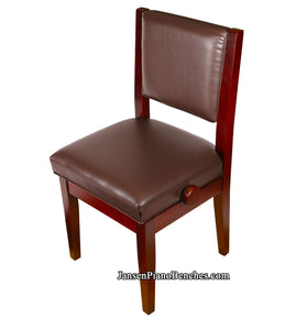 Satin Mahogany Adjustable Piano Chair - Padded Back