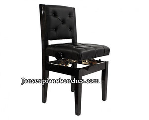 Black Adjustable Piano Chair Padded