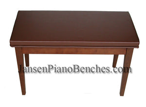 piano bench satin walnut finish brown vinyl padded top