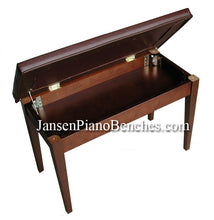 Load image into Gallery viewer, Walnut Piano Bench upholstered top sheet music storage
