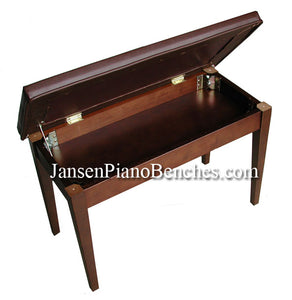 Walnut Piano Bench upholstered top sheet music storage