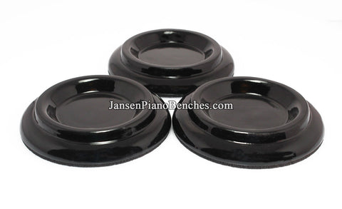 polished black piano caster cups