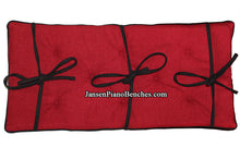 Load image into Gallery viewer, cranberry red and black piano bench cushion