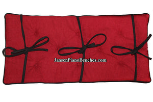 cranberry red and black piano bench cushion