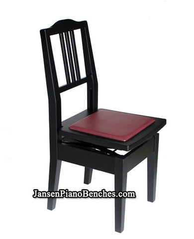 satin black piano chair