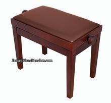 Load image into Gallery viewer, mahogany adjustable height piano bench