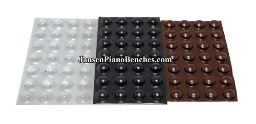adhesive piano buttons bumpers black brown and clear 357