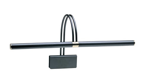 House of Troy 22 inch black slimline piano lamp with brass accents
