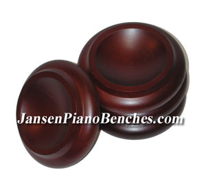 mahogany piano caster cups royal wood 3.5 inch
