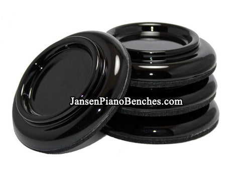 black upright piano caster cups made of hardwood