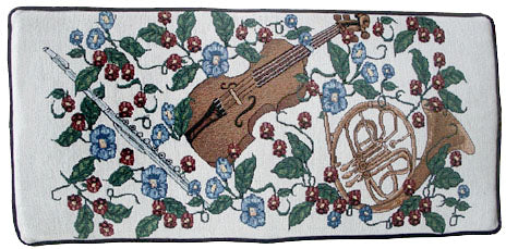 violin and horn piano bench cushion