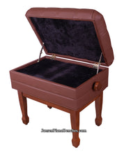 Load image into Gallery viewer, walnut artist piano bench with sheet music storage satin