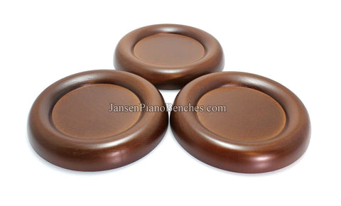 walnut grand piano caster cups  wood