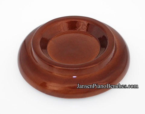 high polish walnut piano caster cup