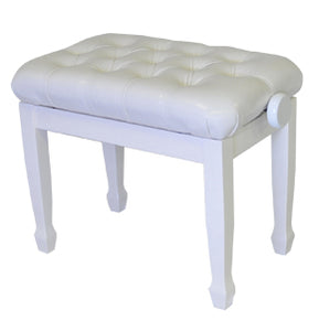 white adjustable piano bench high polish pillow top