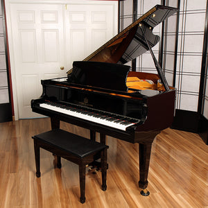 yamaha grand piano bench ebony high gloss black polish