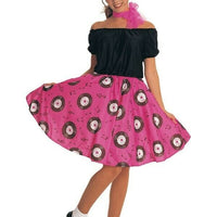 50s Bopper Poodle Skirt Dress Girls Ladies Costume Pink Wig and Scarf