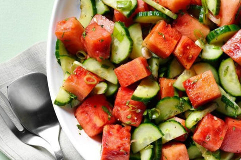 Refreshing minty watermelon & cucumber salad for hot summer days