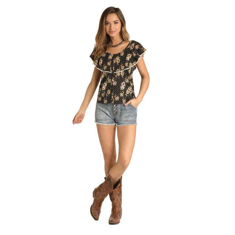 Rock & Roll Cowgirl Women's Floral Print Top