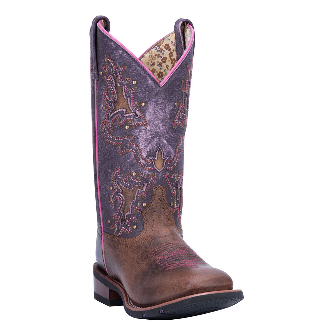 Laredo Lola Distressed Purple Cowgirl Boots