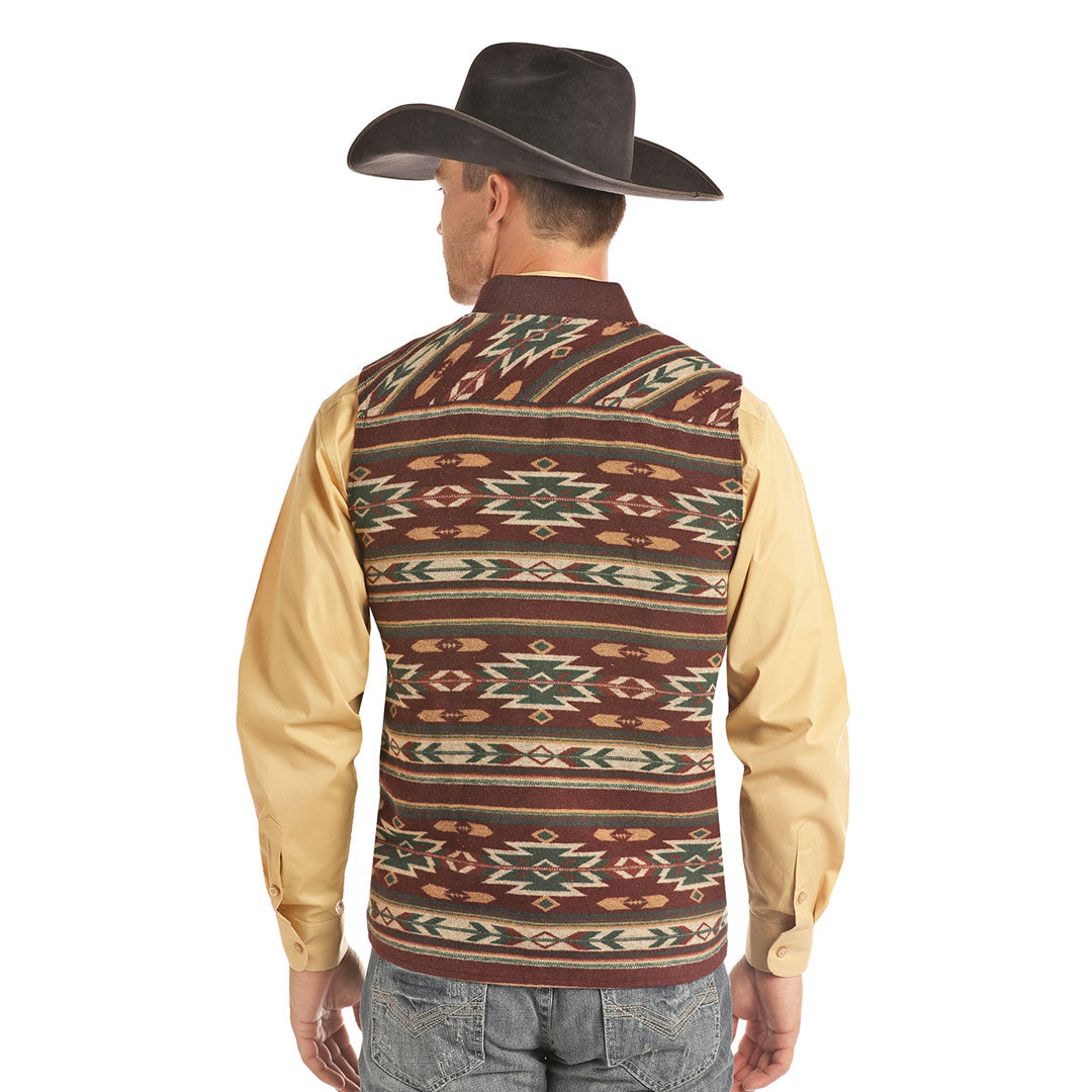 Powder River Outfitters Aztec Jacquard Mens Maroon Vest