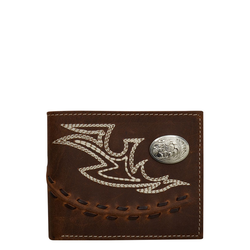 3D Brown Fancy Stitch Western Bi-fold Wallet