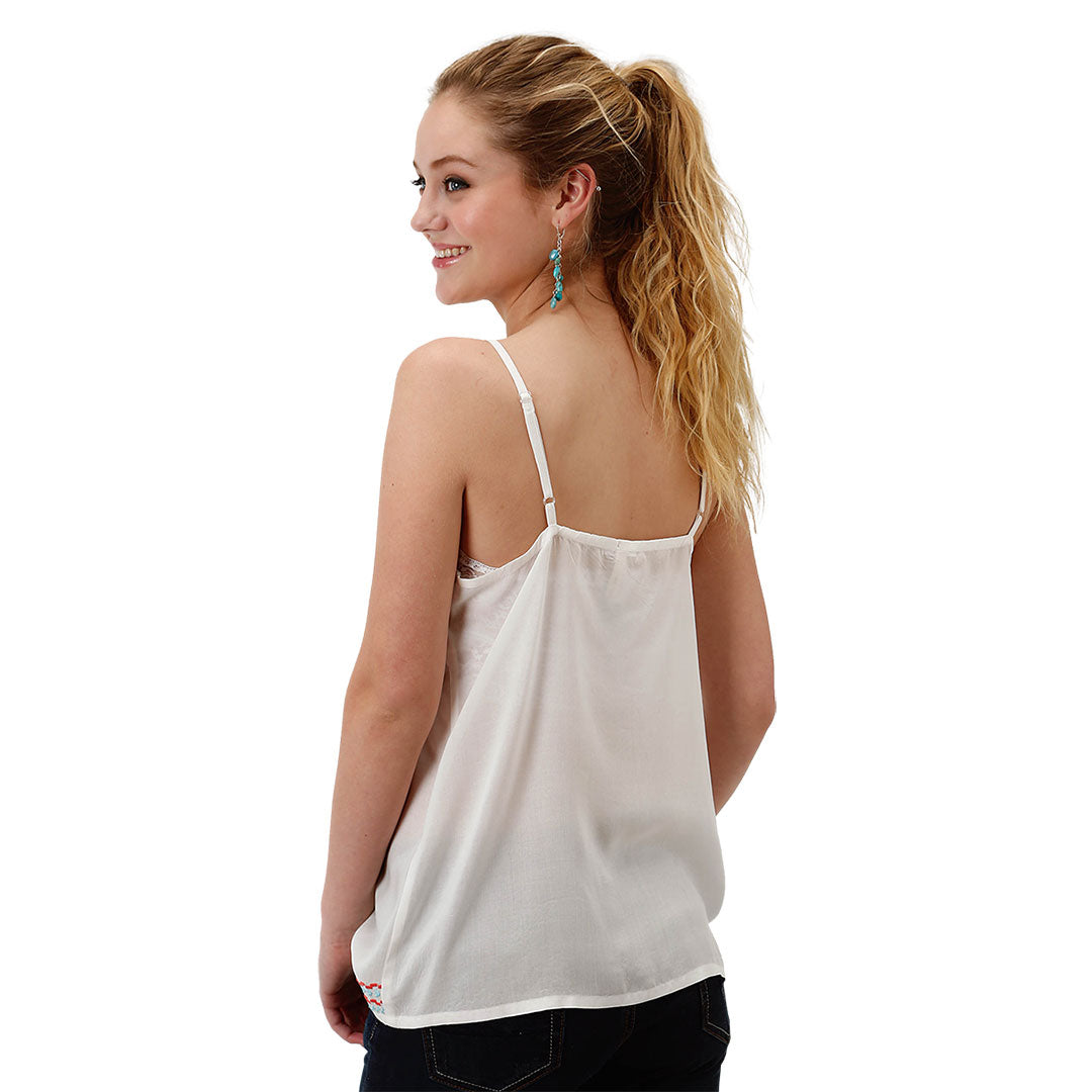 Roper White Embroidered Tank
