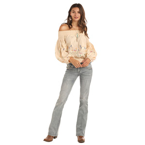 Rock & Roll Cowgirl Off Shoulder Peasant Top