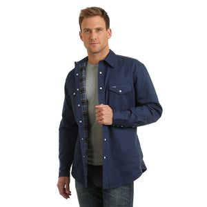Wrangler® Cowboy Cut® Navy Flannel Lined Mens Shirt