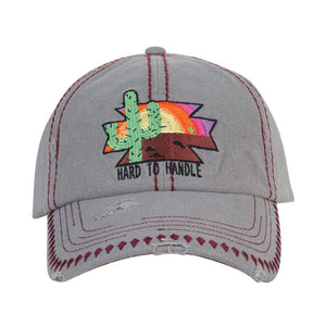 Catchfly Grey Cactus Embroidered Womens Cap