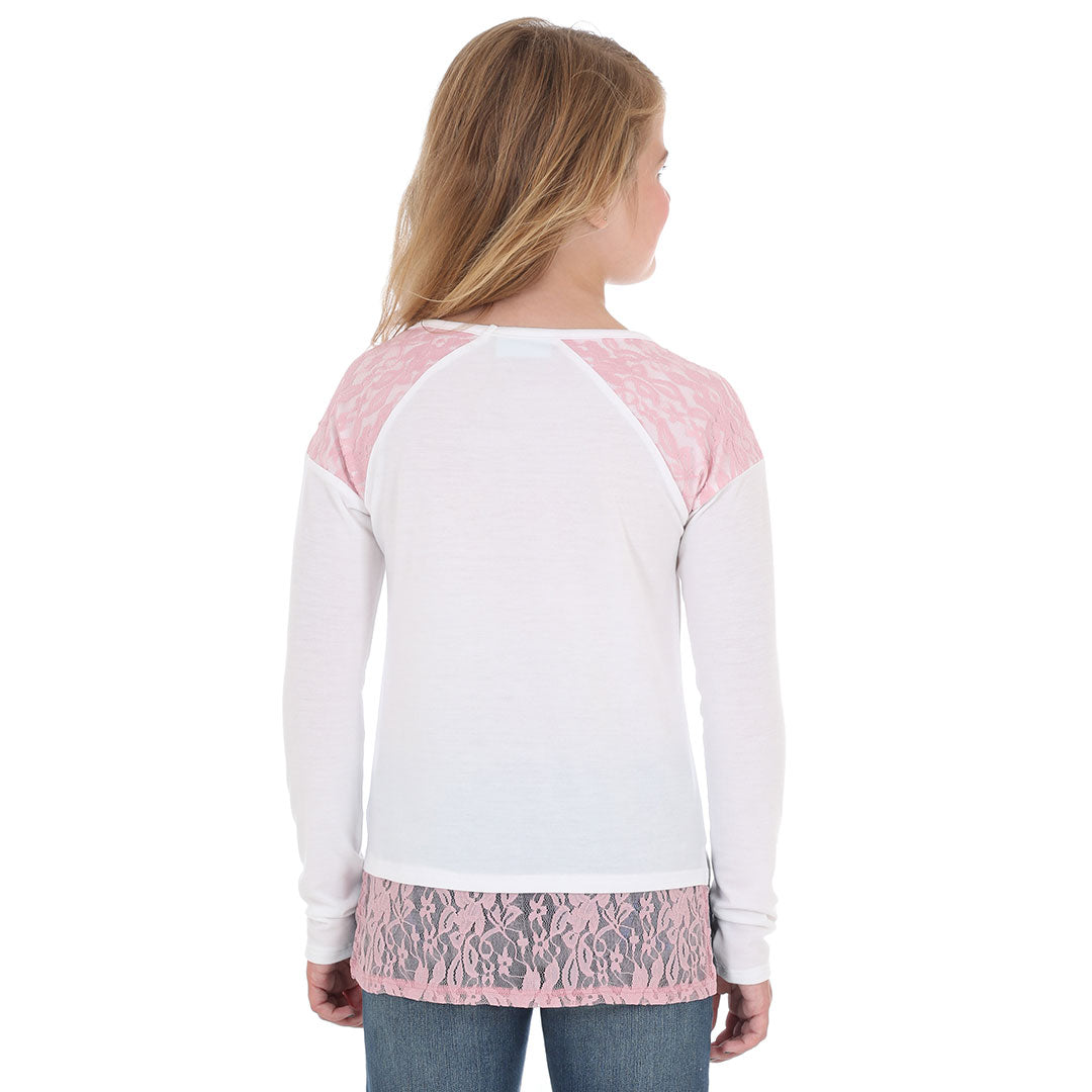 Wrangler Cream & Pink Lace Graphic Tee