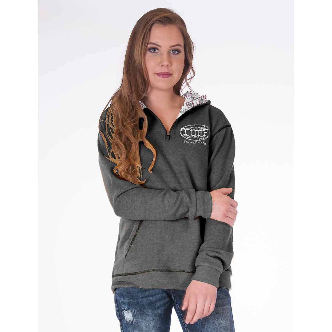 Cowgirl Tuff Aztec Print Lined Fleece Charcoal Womens Hoodie