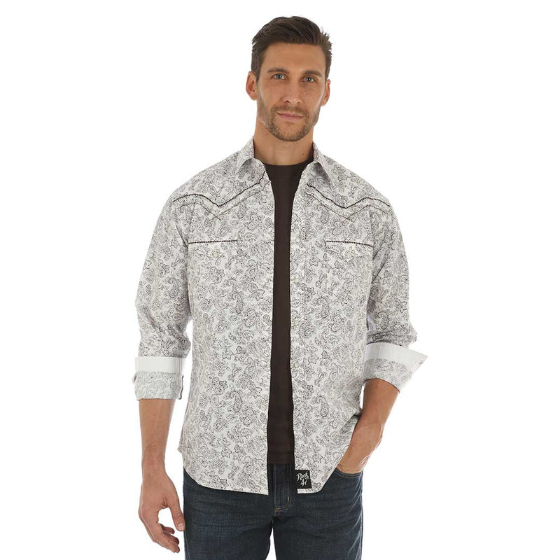 Rock 47® by Wrangler® White & Brown Print Shirt